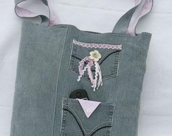 Tas van jeans en gevoerd met een overhemd