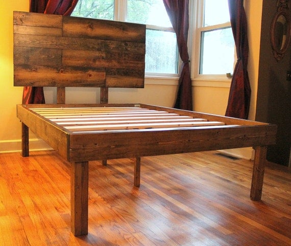 rustic wood minimalist bed frame twin full by inglewoodcrafters. Black Bedroom Furniture Sets. Home Design Ideas