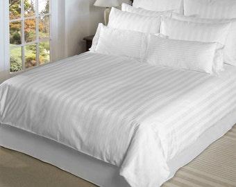 White sateen stripe king size duvet set