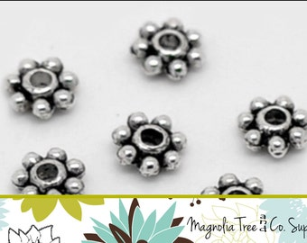 DAISY Spacer Beads, 4mm Beads, 100pcs, Antique Silver Beads, Tiny Spacer Beads (SB902)