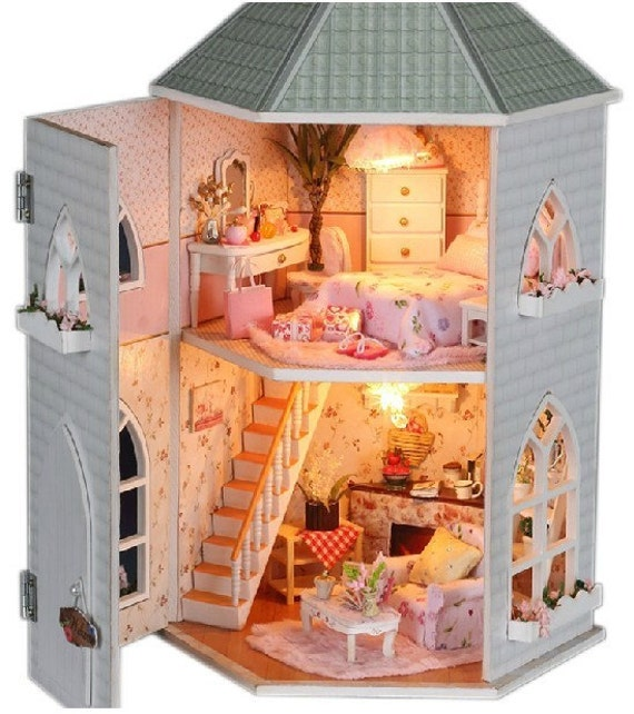 Diy Miniature Doll House Flat Packed Cardboard Kit Mini: DIY Kids Miniature Doll House Toy Castle Wooden House With