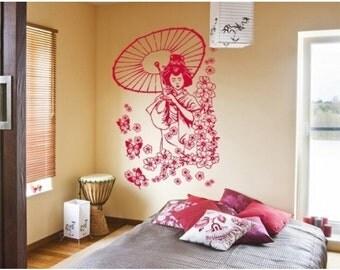 Flora Geisha wall decal, sticker, mural, vinyl wall art