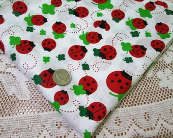 "RED ladybug green clover print cotton fabric~ by half yard (63"" wide)"