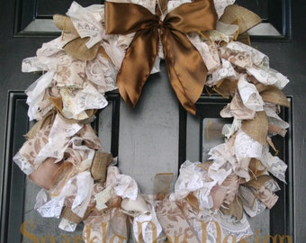 Shabby Chic Upcycled Wreath Vintage Style Lace Wreath Sepia Cream Brown Rag Wreath Rustic Wreath Wedding Decoration Front Door Decoration