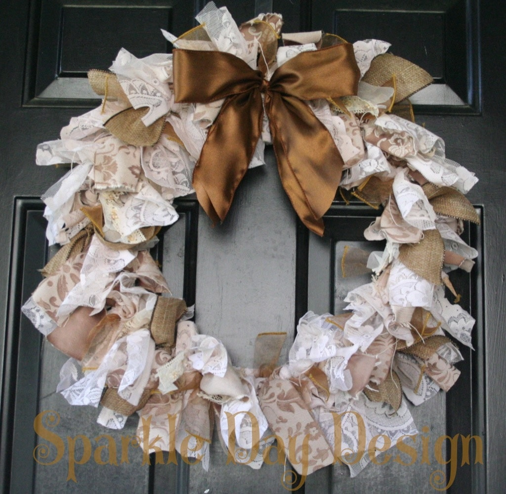 shabby chic upcycled wreath vintage style lace wreath sepia