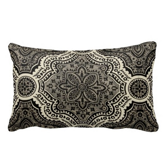 Standard Throw Pillow Cover Sizes : 7 Sizes Available: Black Throw Pillow Cover by ReedFeatherStraw