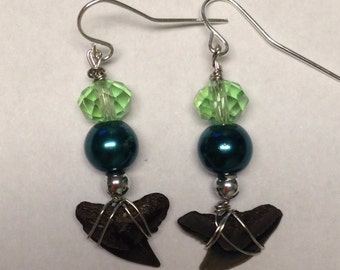 Sharks Teeth Earrings - Dangle Earrings - Homemade Jewelry - Sharks Tooth Jewelry - Green Beads - Homemade Earrings