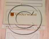 Underwood 5  Typewriter Water Slide Decal set COMPLETE WITH pinstripes
