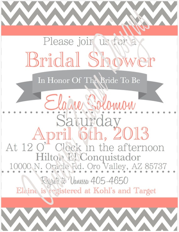 Coral and Gray Bridal Shower Invitations