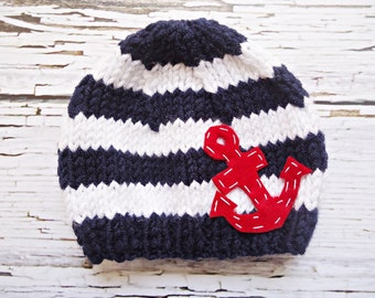 knit Hat with ANCHOR,  Baby Hat - anchor