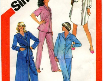 VINTAGE - Simplicity Pattern 5786 Misses' Tailored Pajamas, Nightshirt and Robe