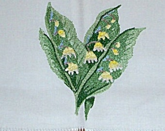 Vintage Lily of the Valley Embroidered Guest Towel - Unused