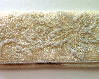 White Vintage Beaded Clutch Hand Made in Hong Kong 1930's