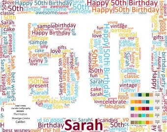 personalized 50th birthday gift wor d art 50th birthday fifty birthday ...