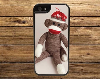 Cell Phone Case - Sitting Sock Monkey Cell Phone Case - iPhone Cell Phone Cases - Samsung Galaxy Case - iPod Case
