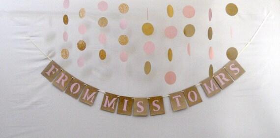 Rose Gold Blush Pink Bridal Shower Banner Decoration Wedding