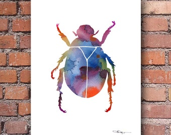 Scarab Beetle Art Print - Abstract Watercolor Painting - Wall Decor