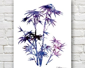 Bamboo Art Print - Abstract Watercolor Painting -  Wall Decor