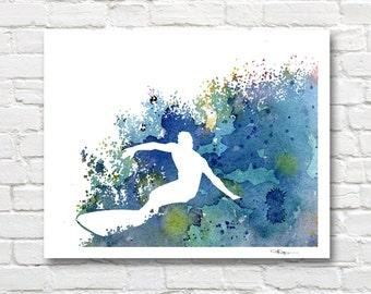 Surfer Art Print - Abstract Watercolor Painting - Wall Decor