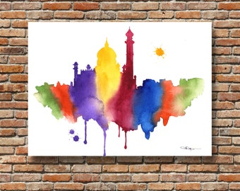 India Skyline Abstract Watercolor Painting - Taj Mahal - Contemporary Wall Decor