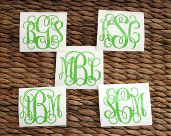 Monogram Decal - Vinyl Monogram Decal - Monogram Decal - Vinyl Decal - Script Monogram Vinyl Decal - Vine Monogram - Monogram