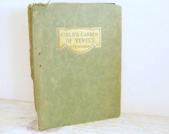 Childs Garden of Verses Antique Poetry Book Childrens Poems Robert L Stevenson Barse Hopkins Vintage Classic Book Elizabeth Ivins Jones 1900
