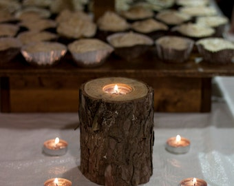 Wood Tea Light Candle Holder