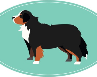 Modern Oval Shaped Bernese Mountain Dog Decal