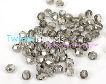 Czech fire polish glass beads 6mm Silver color/Black Diamond (30)