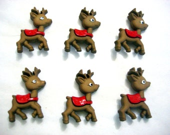 Rudolph the Red Nose Reindeer Buttons Jesse James Buttons Reindeer Games Dress It Up Buttons Set of 6 Shank Back - 657 F
