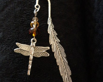 Dragonfly In Amber Themed Bookmark,  Antiqued Silver Tone, Outlander Inspired