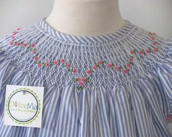 Blue Stripes Toddler Smocked dresses, Girls smocked clothing 3M, 2T