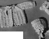 Crochet Baby pattern, instant download, sweater bonnet booties, crochet clothing,  vintage baby pattern