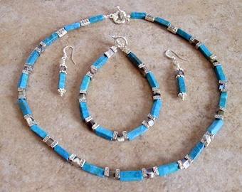 Turquoise Crystal Gemstone Necklace Set