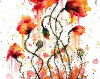 poppies - mounted original painting