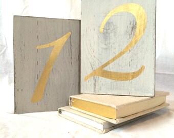 Table numbers, wedding table numbers, wedding table decor, gold wedding