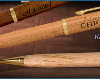 10 Personalized Custom Bamboo Pens - Free Shipping