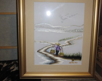 Vintage Vietnamese Embroidery Picture Framed Gold