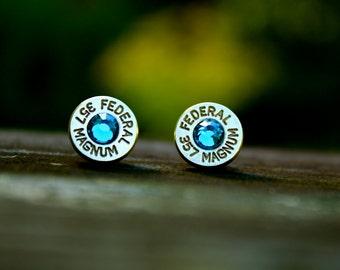 357 Magnum Bullet Earrings - Brass Casings - Blue Zircon Crystals - Ammo Earrings - Southern Jewelry - Hunters - Ballistic - Western Jewelry