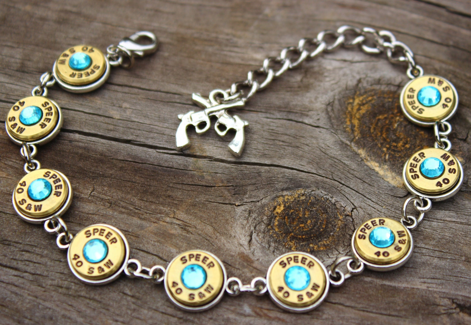 Speer Bullet Bracelet  40 Caliber Spent Shell Casings  Aquamarine  Crystals  Ammo Bracelet