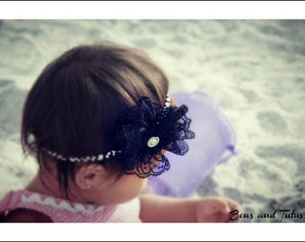 CHOOSE from TWO Colors Vintage Lace Flower Headband