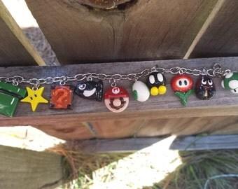 Mario Inspired Charm Bracelet! Geeky Jewelry, Nerdy Jewelry, Gamer Jewelry