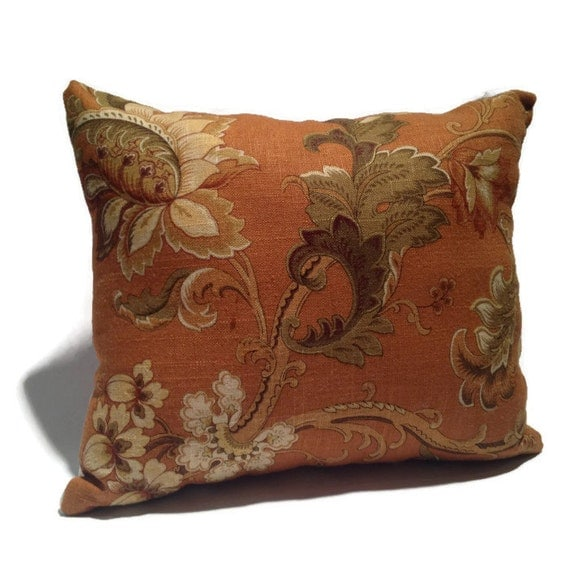 Linen Floral Orange and Green Decorative Throw Pillow Home