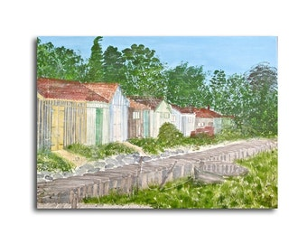 Painting huts oysters France canvas large 70 x 50 x 1,5 cm acrylic painting