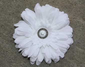 Flower Hair Clip-Toddler-Girls-Bridal Flower Clip-White Daisy/Pearl