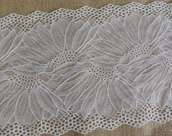 "White lace trim, embroidery stretch lace fabric trim, elastic lace in white, 7.1"" wide one yard"