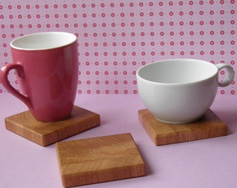 Coaster set of 4 glass coasters, wooden coasters, saucer
