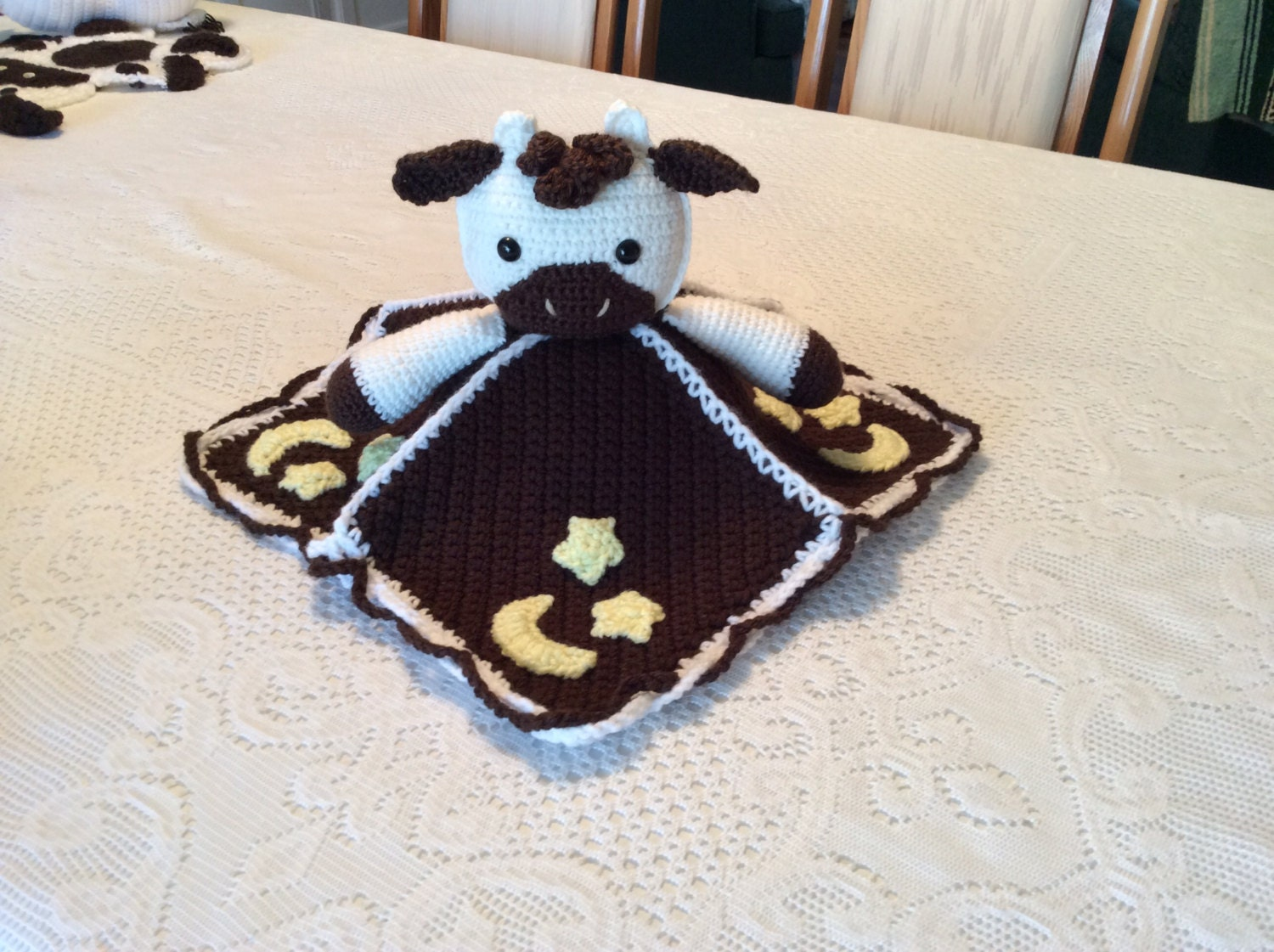 Crochet Cow And Moon Lovey Blanket Tutorial Security Blanket