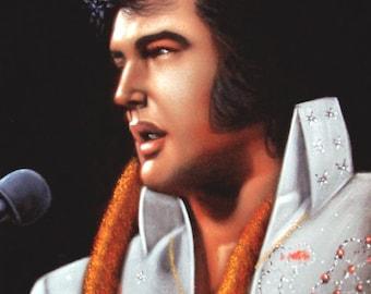 Elvis Presley The king  black velvet original oil painting handpainted signed art 18 by 24 inches