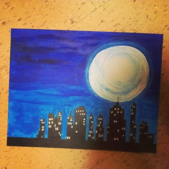 Skyline Moon Painting